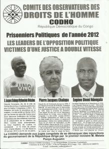 PRISONNIERS POLITIQUES 2012 EN RDC