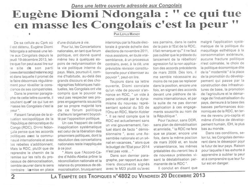 Eugene diomi ndongala le prisonnier politique du regime for La peur du nombre 13