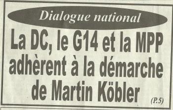 LA DC, LE G14 ET LA MPP ADHERENT A LA DEMARCHE DE KOBLER / LE PHARE