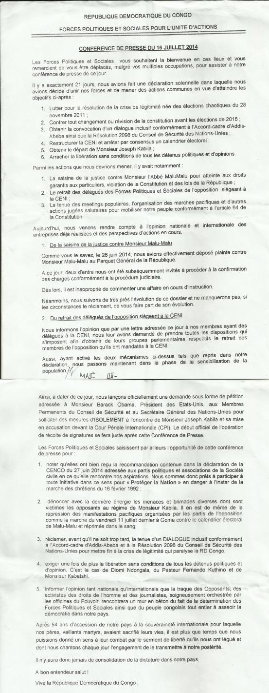 CONFERENCE DE PRESSE16072014