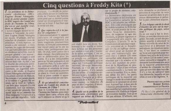 FREDDY Kita Cinq questions Le Potentiel