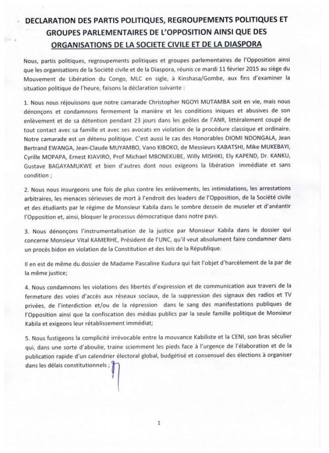 DECLARATION DE L OPPOSITION DU 110215