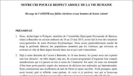 DECLARATION DES EVEQUES POUR LE RESPECT VIE HUMAINE