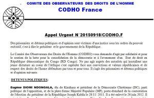 APPEL URGENT PRISONNIERS POLITIQUES CODHO 190915