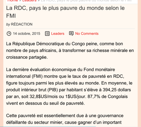 FMI PAUVRETE EN RDC 2015