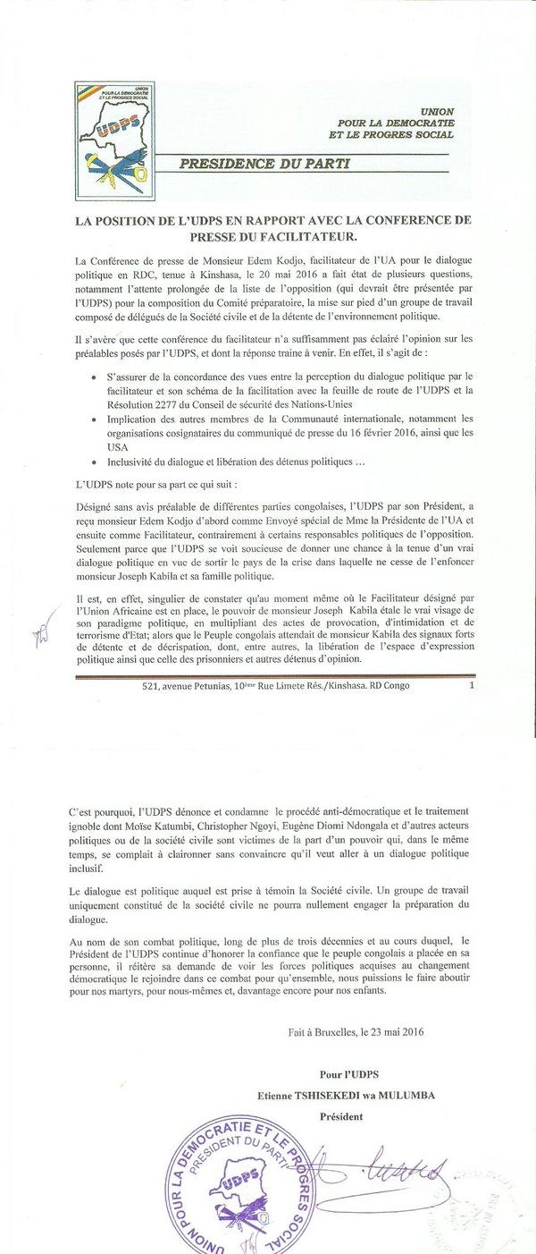 COMMUNIQUE UDPS 250516