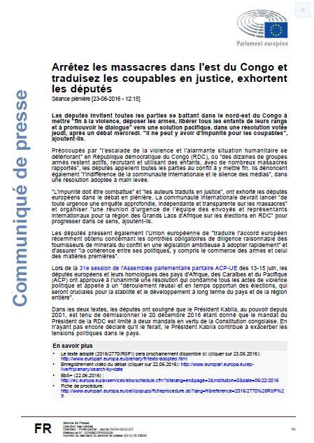 COMM EU-ACP DU 230616 KABILA DOIT DEMISSIONER LE 201216