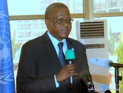 Le Représentant spécial du secrétaire général des Nations unies en RDC, Maman Sidikou lors d'une conférence  de presse le 14/07/2016 à Kinshasa. Radio Okapi/Ph. John Bompengo