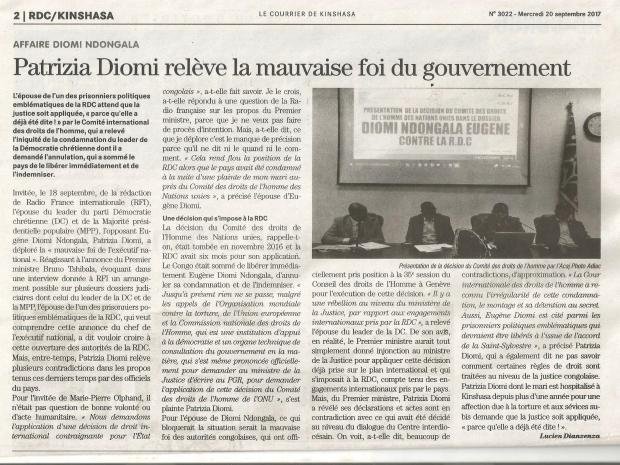 DEPECHE DE BRAZZAVILLE INTERVIEW PATRIZIA A RFI