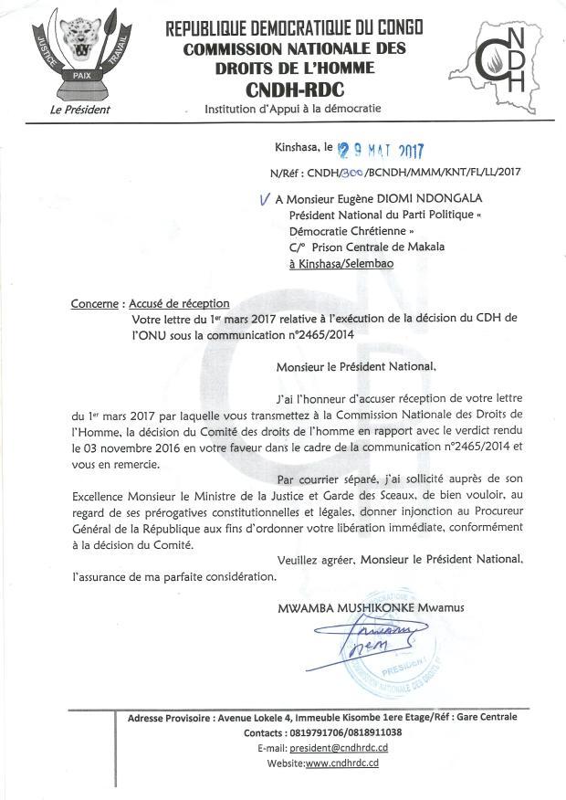 lettre de la CNDH a Diomi