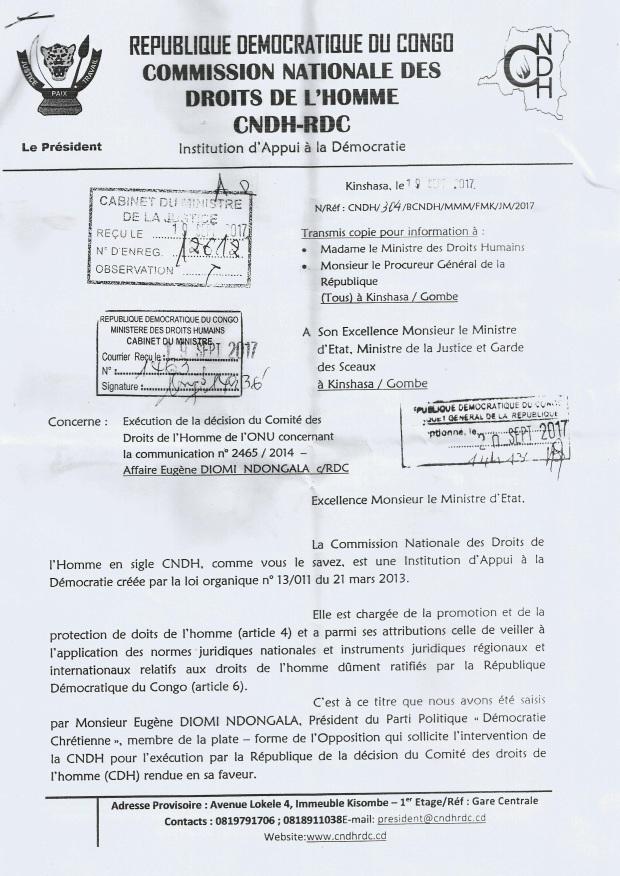 EUGENE DIOMI NDONGALA VS REPUBLIQUE DEMOCRATIQUE DU CONGO: LA RDC CONDAMNEE PAR L'ONU- TOUS LES DOCUMENTS OFFICIELS DE LA PROCEDURE JURIDICTIONNELLE AYANT ABOUTI AU BLANCHIMENT DE DIOMI ET LA CONDAMNATION DE LA RDC A L ONU Lettre-cndh-1-au-min-justice-et-dh