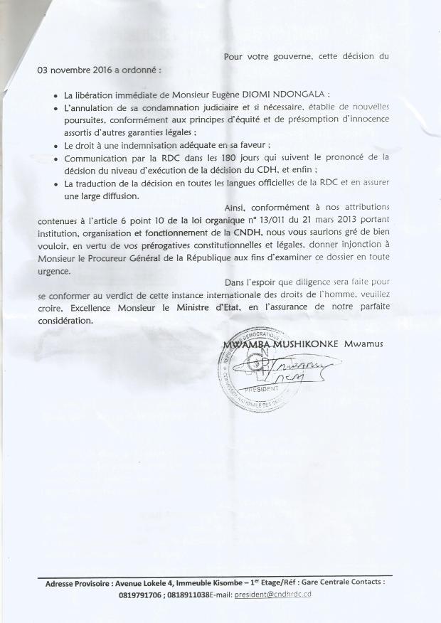 EUGENE DIOMI NDONGALA VS REPUBLIQUE DEMOCRATIQUE DU CONGO: LA RDC CONDAMNEE PAR L'ONU- TOUS LES DOCUMENTS OFFICIELS DE LA PROCEDURE JURIDICTIONNELLE AYANT ABOUTI AU BLANCHIMENT DE DIOMI ET LA CONDAMNATION DE LA RDC A L ONU Lettre-du-cndh-2-au-min-justice-et-dh
