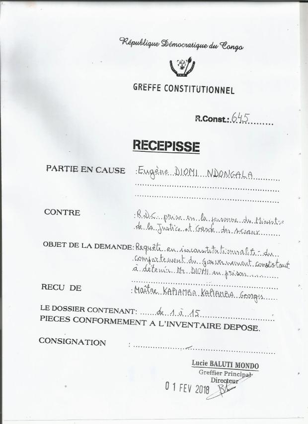 REQUETE EN INCONSTITUTIONNALITE CONTRE GOUV RDC 010218 1