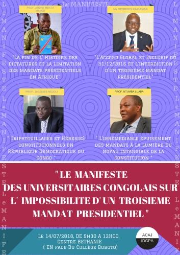 LE MANIFESTE CONTRE UN TROISIEME MANDAT PRESIDENTIEL EN RDC
