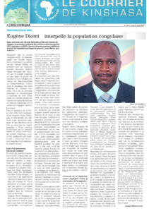 LETTRE OUVERTE D' EUGENE DIOMI NDONGALA AUX CONGOLAIS: « LIBERONS L'AVENIR DU CONGO» Courrier-de-kinshasa-200818