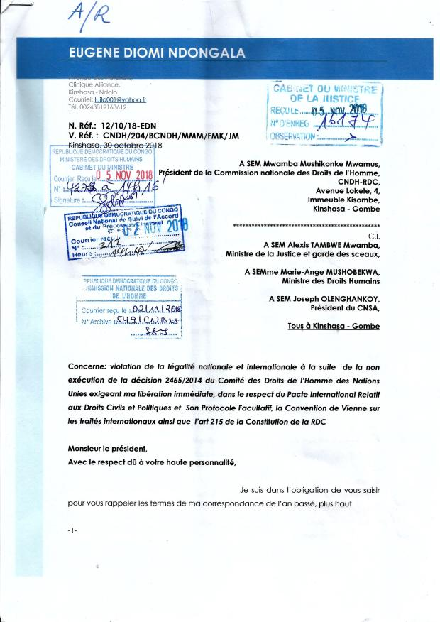 accusee de reception lettre au CNDH