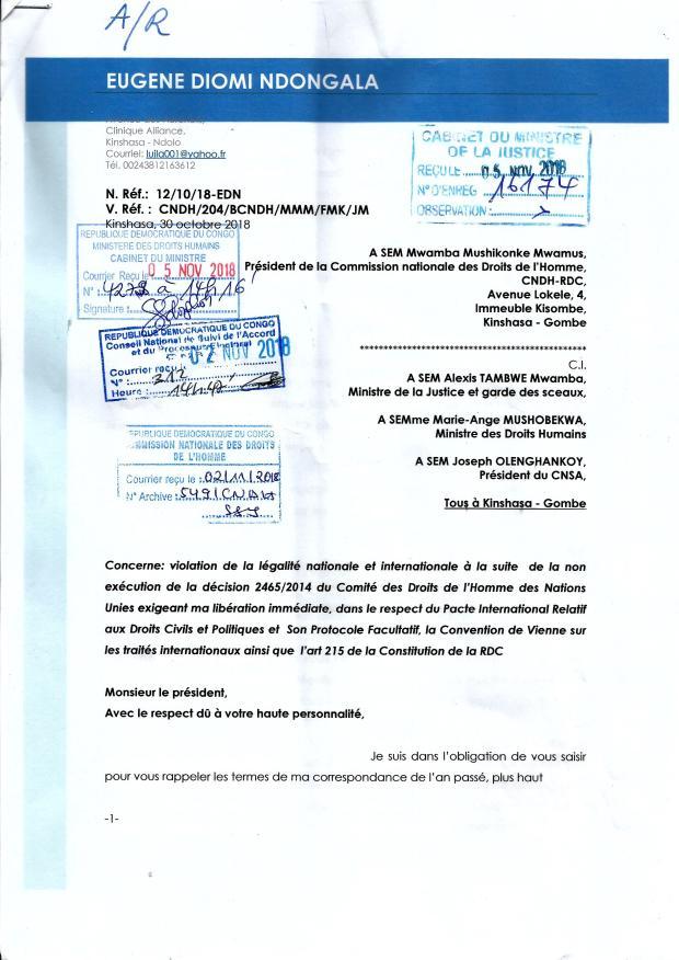 accusee de reception lettre au CNDH