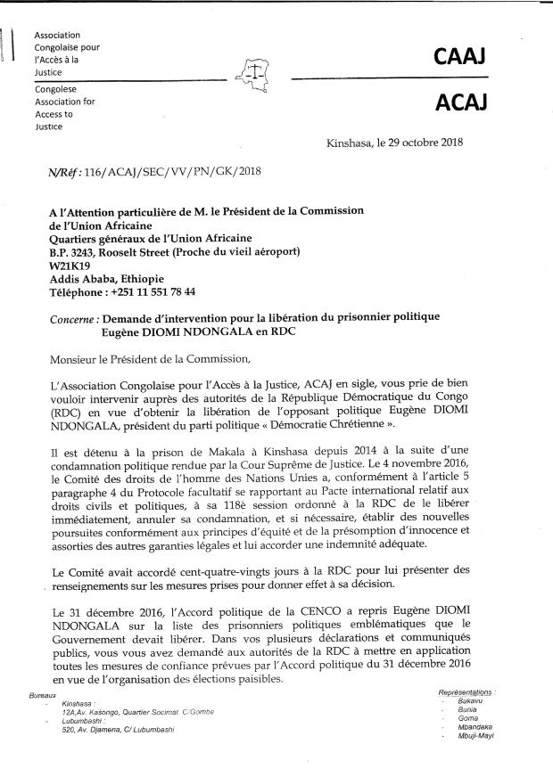 LETTRE A LA COMMISSION DE L UA ADDIS ABEBA 1