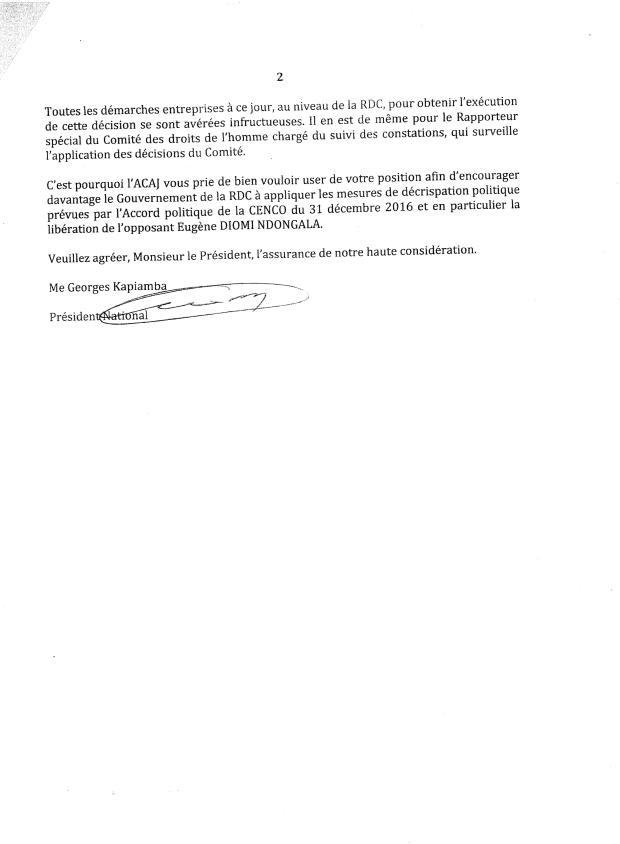 LETTRE A LA COMMISSION DE L UA ADDIS ABEBA 2