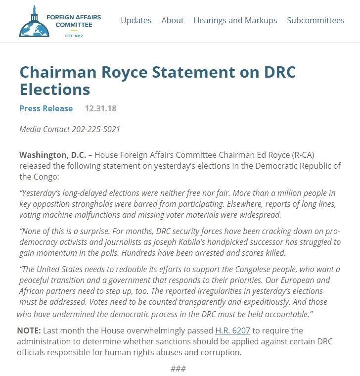 declaration du senat americain sur les elections rdc 1